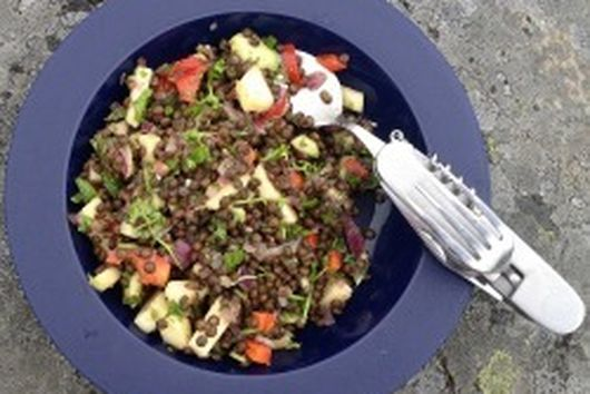 Beluga Lentil Salad with Avocado, Apple and Summer Herbs