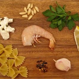 Shrimp Pasta in a Goat Cheese and Pine Nut Sauce