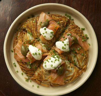 Rosti with Gravlax, Caperberries and Horseradish Cream