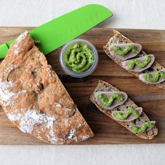 Rye Bread Sandwich with a Calf Tongue and Italian Salsa Verde