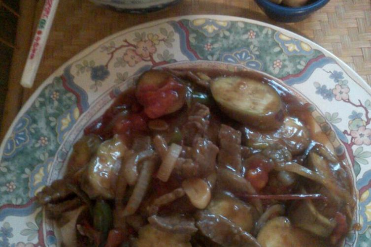 Garlic Beef and Eggplant with Oyster Sauce