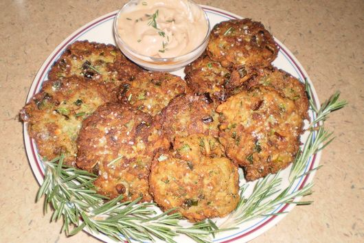Zucchini, Rosemary, Potato Pancakes with Raspberry Chipotle Creme