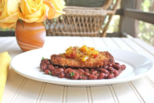 Pork Schnitzel with Red Beans and Chow Chow