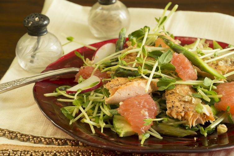 Asparagus, Pea Sprout, Avocado & Grapefruit Salad with Steelhead Trout & Ginger