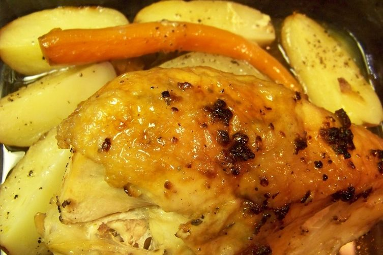 Split Breast Of Chicken With Roasted Carrots And Potatoes Recipe On