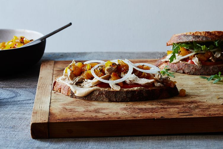 Chicken-Amba (Mango Condiment) Sandwiches with Lime Mayonnaise