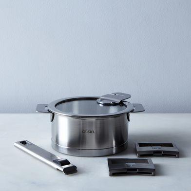 Cristel Space-Saving Saucepan with Handles, 1QT