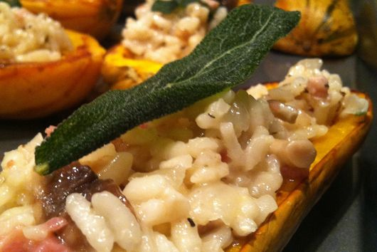 Delicata Squash Boats with Pancetta, Porcini, and Fried Sage Risotto