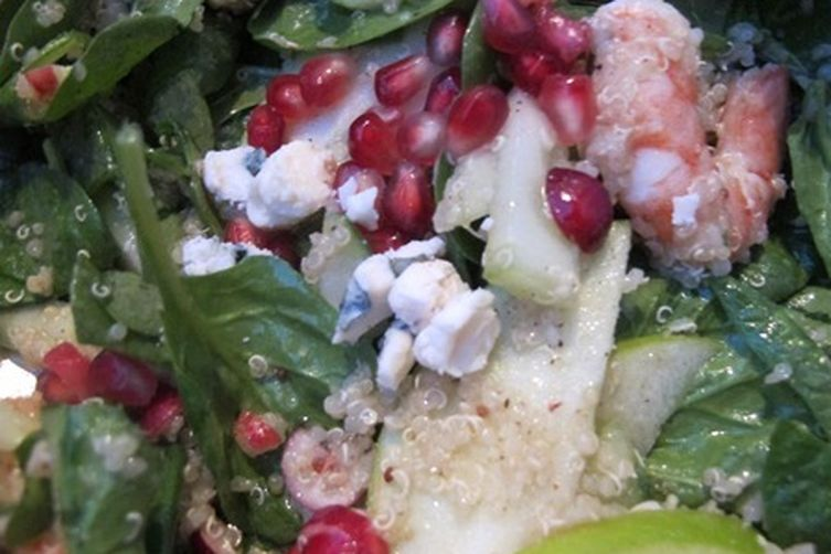 Shrimp-Winter Fruit Salad with Pomegranate Seeds and Blue Cheese