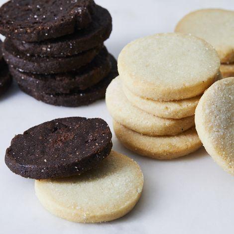 Vanilla Bean Shortbread and Chocolate Sable Cookie Duo