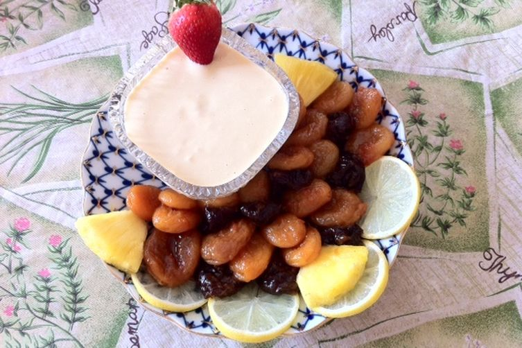 Poached Dried Apricots and Plums With Dessert Aioli.