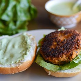 Black Bean-Pumpkin Burgers with Cilantro Yogurt Sauce