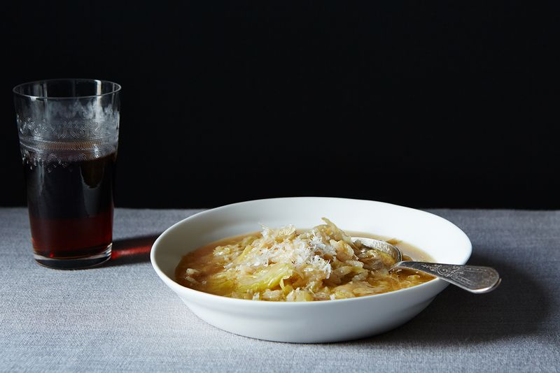 Marcella Hazan's Rice & Smothered Cabbage Soup