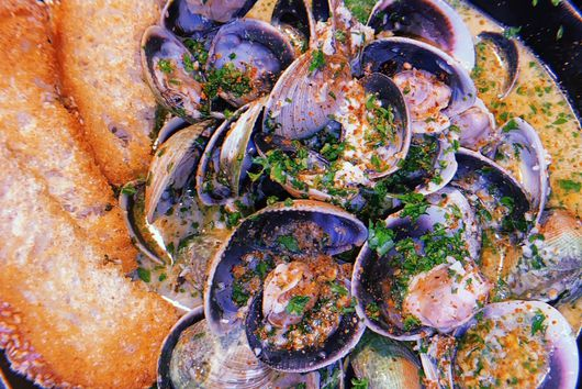Roasted Garlic Brown Butter Clams