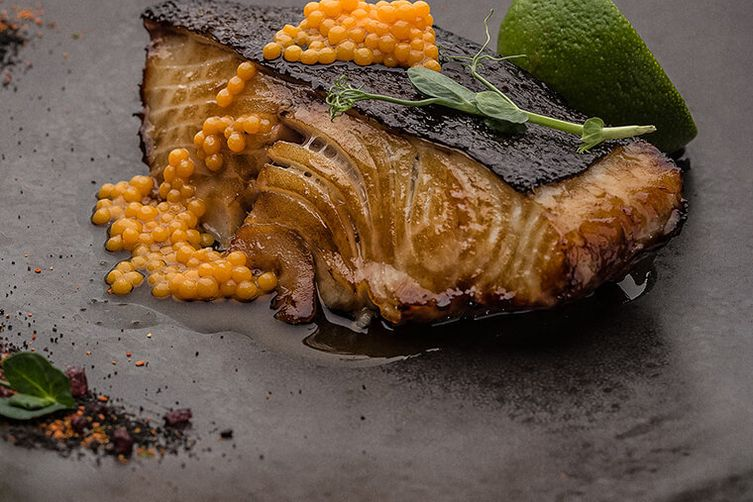 Black Cod with Mango Caviar