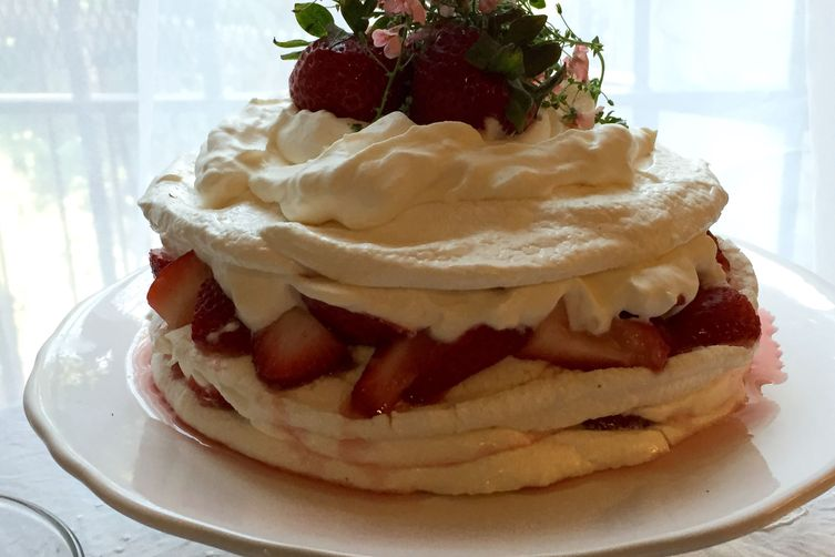 Pavlova With Strawberries And Elderflower Whipped Cream