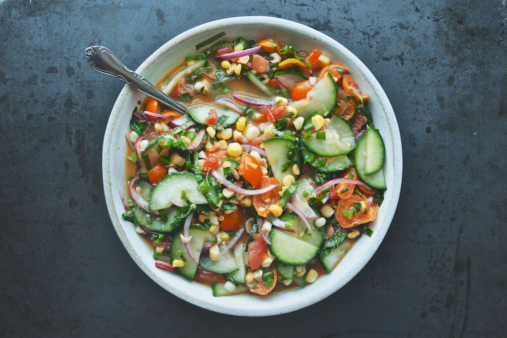 Tomato, Cucumber, Corn Salad