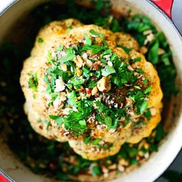 Whole Roasted Cauliflower with Hazelnut, Orange & Saffron