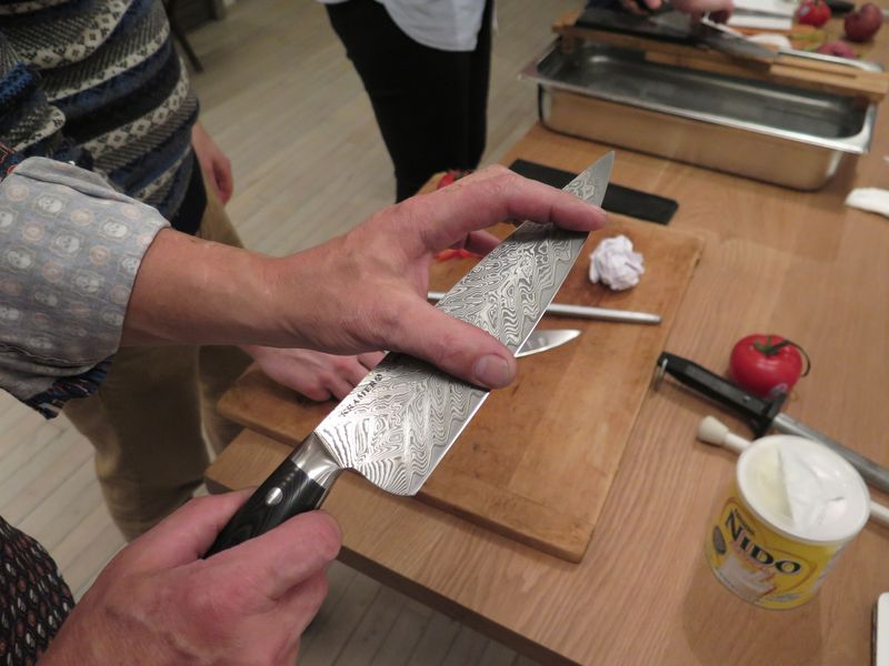 Bob demonstrated the area of the knife that gets the most wear, but noted that its equally important to make sure the bottom and top of the knife get sharpened, as they're easy to miss.
