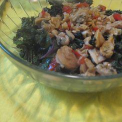Wilted purple kale & chopped savory clams