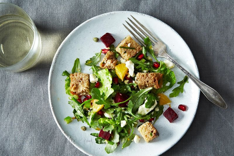 Winter Panzanella with Orange, Roasted Beets, and Pomegranate Seeds