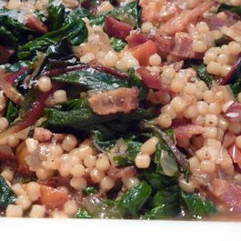 Swiss Chard Bacon Saute with Pasta (Italy For Almost Free)