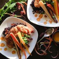 Carrot-Date Glazed Fried Cauliflower with Roasted Carrots and Black Rice