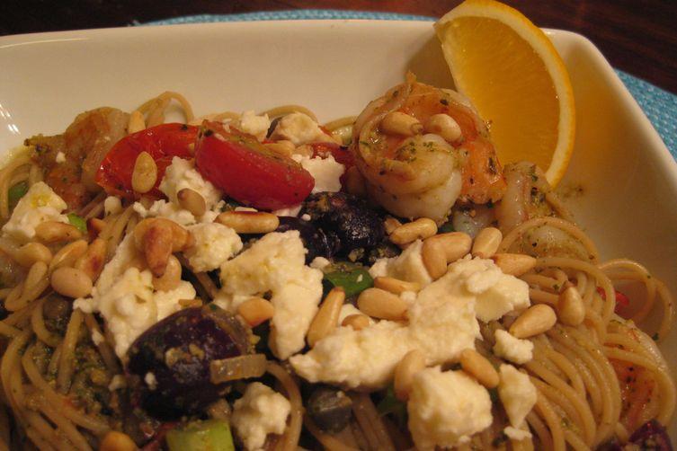 Lemony Shrimp and Pesto Pasta