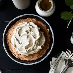 French Silk Pie with Chocolate-Coffee (Grounds) Crust