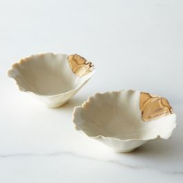 Gold-Dipped Seashell Pinch Bowls