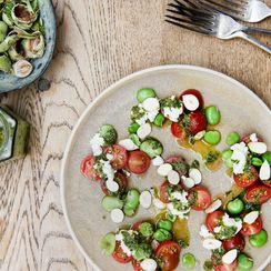 Rosie Birkett's Tomatoes with Ricotta, Hazelnuts, and Salsa Verde