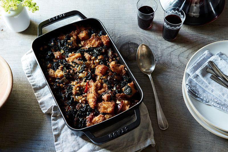 Sourdough Stuffing with Kale, Dates, and Sausage