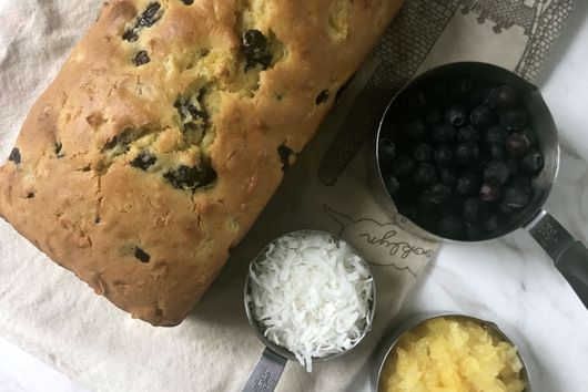Blueberry Bread with Pineapple and Coconut