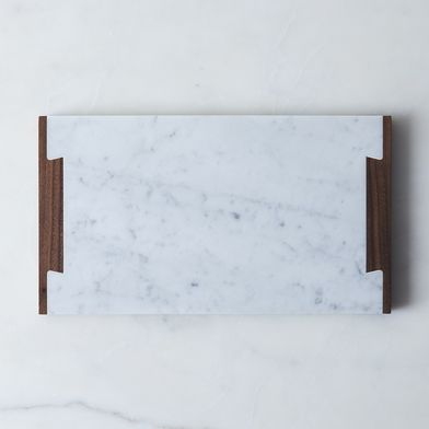 Carrara Marble & Walnut Serving Tray