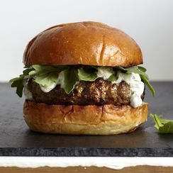 Karen Weinberg's Lamb Burgers with Tzatziki and Arugula