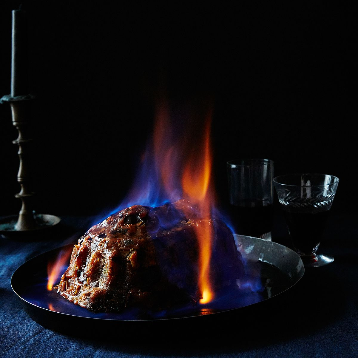 Christmas Pudding On Fire.British Christmas Pudding Recipe