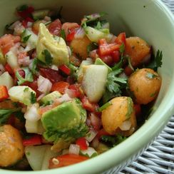 Hot and Sweet Salsa with Tomato, Avocado and Melon