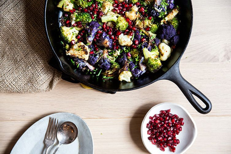 Roasted Broccoli with Cauliflower, Pomegranates & Tahini