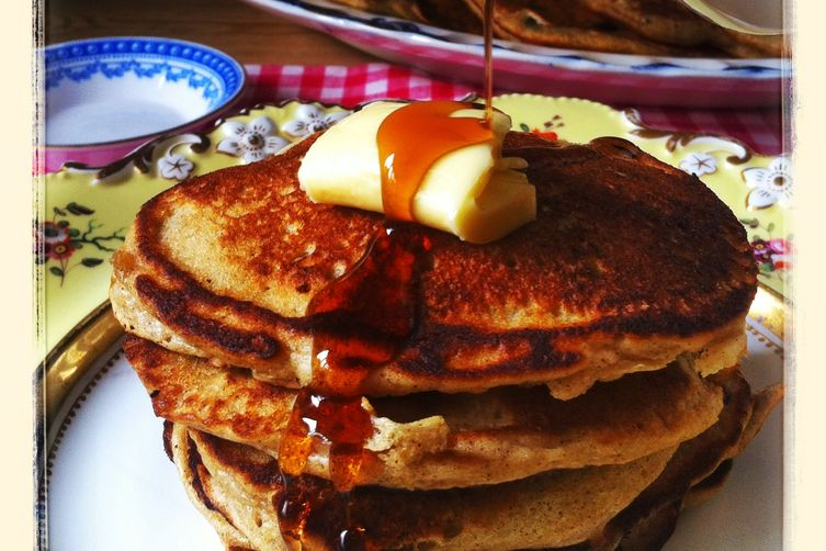 Sour Cream and Cinnamon Pancakes with Blueberries