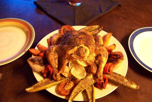 Peppered Lemon Rosemary Chicken with Autumn Vegetables