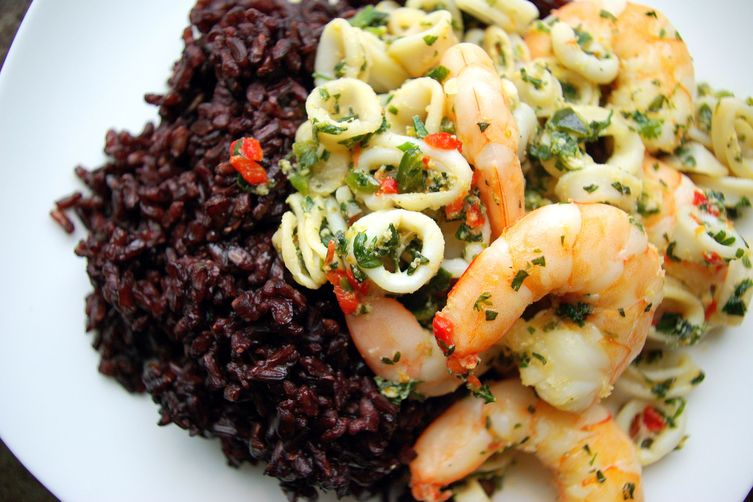 Poblano Citrus Shrimp and Calamari with Herbs and Black Rice