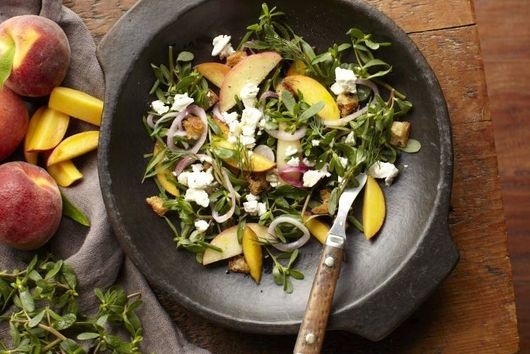 Mike Price's Purslane-Peach Salad with Feta and Pickled Red Onions
