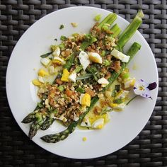 First of the Season Asparagus with Green Garlic and Almond Breadcrumbs