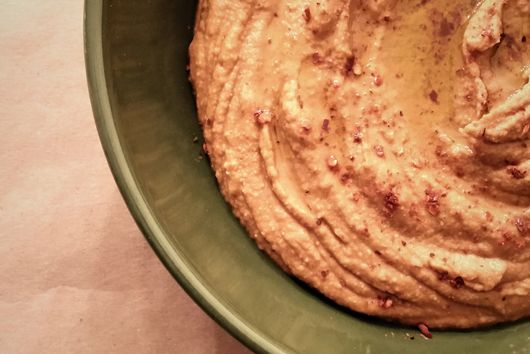 Smoky Red Lentil Hummus with Harissa and Yam