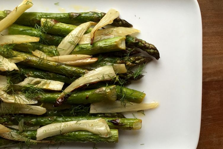 Roasted Asparagus and Fennel with Charred Lime