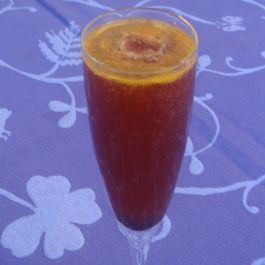 Honey Tangerine Champagne Punch With Black Cherry Granita