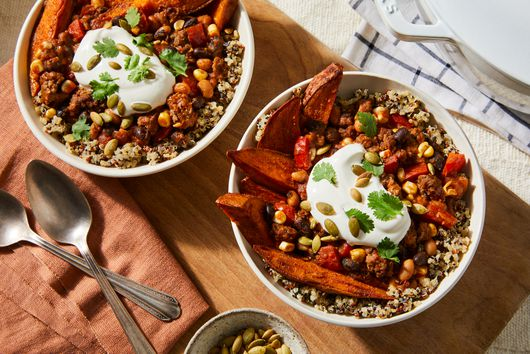 Autumn Chili Bowl With Roasted Sweet Potatoes & Quinoa From Haile Thomas