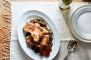 Roasted Pork Chops with Apples & Lentils