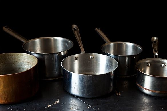 Lined up saucepans