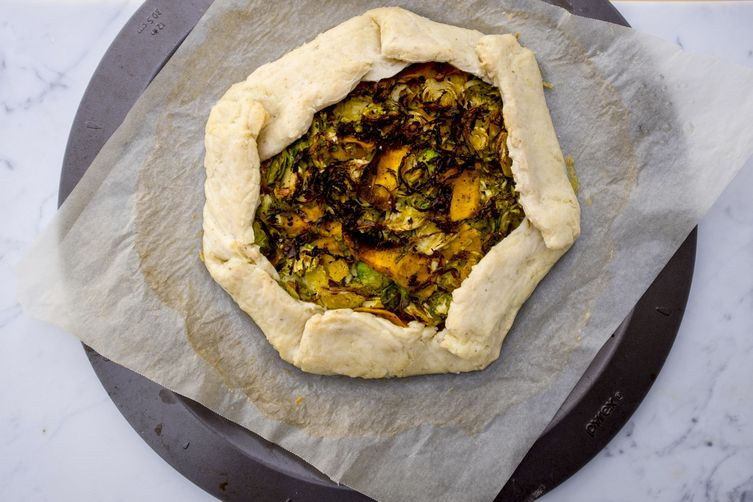 Gluten-free vegan savoury brussels sprout and pumpkin galette